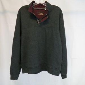 Orvis Men's L Pullover 1/4 Zip Shirt Charcoal Gray